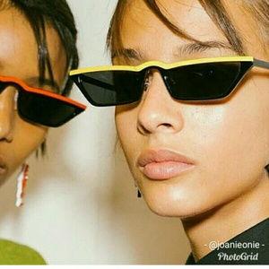 Slim Yellow Black Cat Eye Trendy Edgy Sunglasses